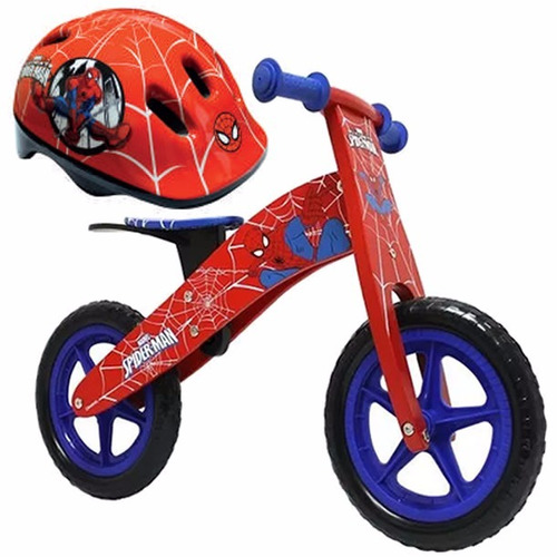 bicicleta madera lahsen spiderman aro 12 + casco | 2-4 años
