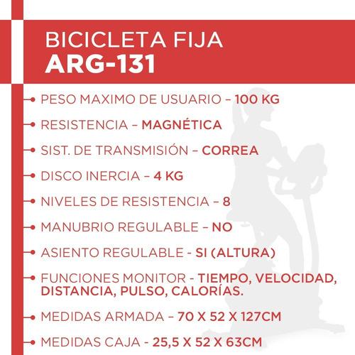 bicicleta magnética randers arg-131 h/100kg 8 niv de tension