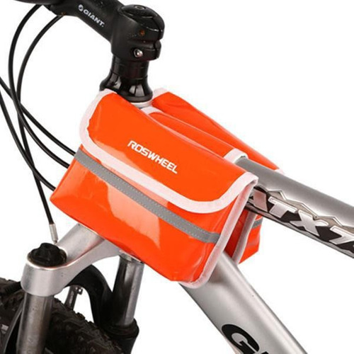 bicicleta marco bolso alforja delantera tubo bolsa pu cuero