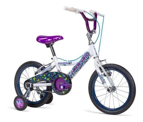 bicicleta mercurio sweetgirl para niña rodada 16 con ruedas entrenadoras