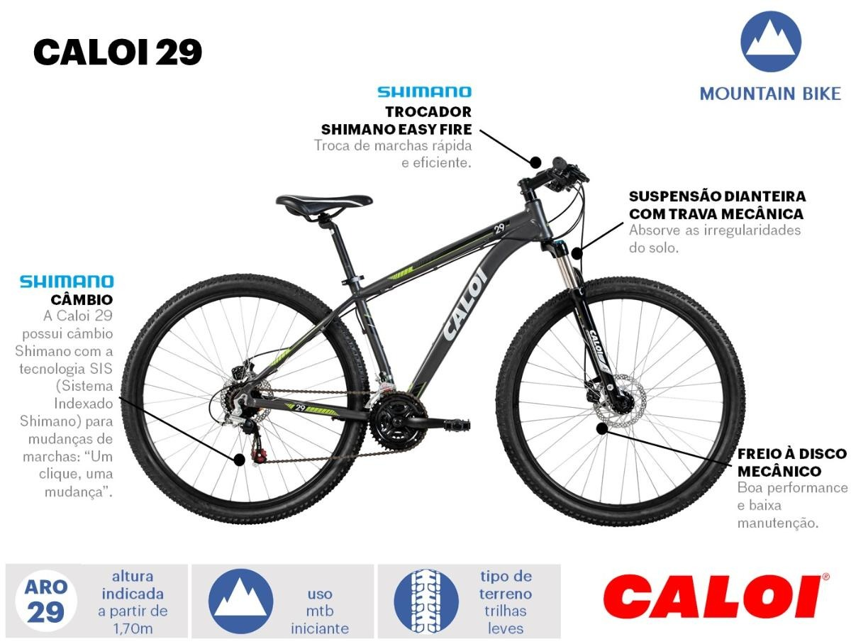 3836c626b bicicleta mtb caloi 29 aro 29 câmbios shimano 21 marchas. Carregando zoom.