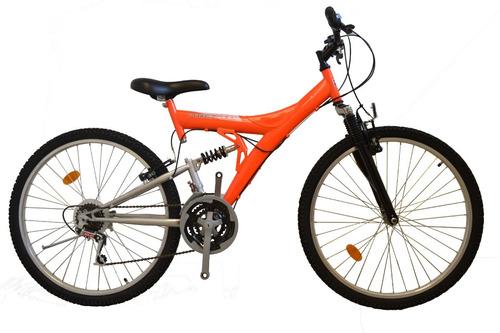 bicicleta mtb doble suspension power r 26 21v + led colores!