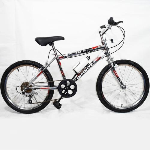 bicicleta mtb infiniti cromada montañera aro 20 + cambios