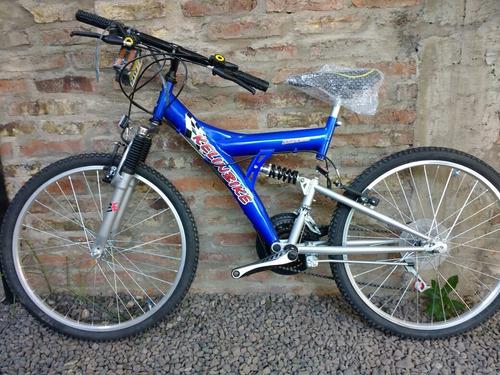 bicicleta mtb kelinbike rod 24 18 vel doble suspensión azul