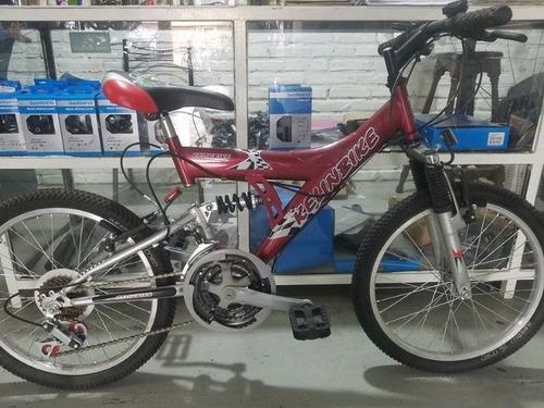 bicicleta mtb kelinbike rod 24 18 vel doble suspensión rojo