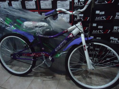 bicicleta nena musetta fantasy rodado 24 violeta - envio
