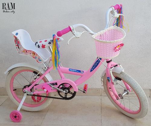 bicicleta nena rod 16 equipada con baul importada