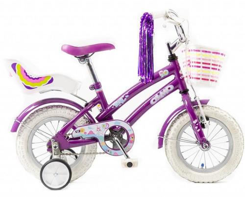 bicicleta nena rodado 12 olmo tiny pets violeta- racer bikes