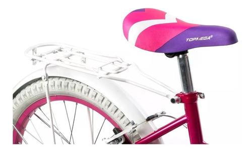 bicicleta nenas princesas r 20 + luz + canasto top mega