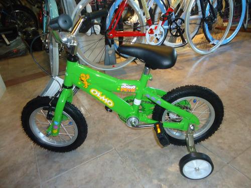 bicicleta nene rodado 12 olmo cosmo pets verde - racer bikes