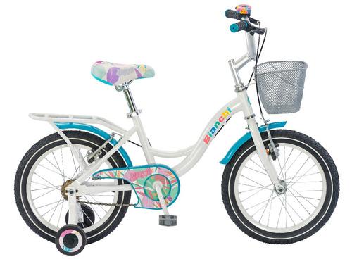 bicicleta niña aro 16 bianchi kitty blanco / verde claro
