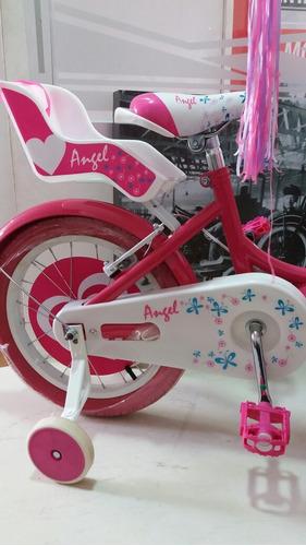 bicicleta niña rin 16 gw angel con porta muñecas rosada