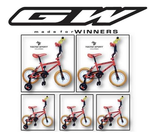 bicicleta niño gw rin 12 fireman con accesorios promocion