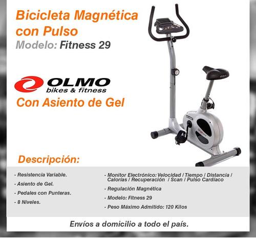 bicicleta olmo magnetica con pulso asiento de gel 100kg fija