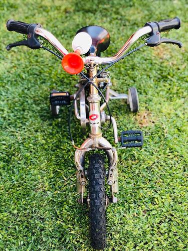 bicicleta olmo rodado 12 cromada con rueditas - funciona