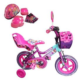 Bicicleta Para Niña De 3 A 5 Años Rin 12  + Kit De Seguridad