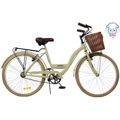 bicicleta paseo dama vintage r26 beige canasto silla combo