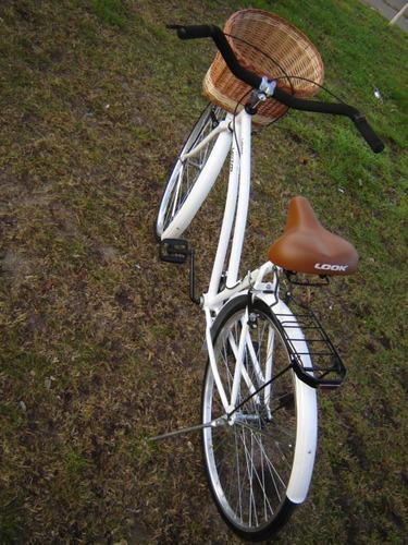 bicicleta paseo rodado 28 canasto mimbre