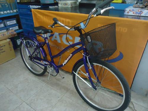 bicicleta playera 24 full dama canasto guardab.- racer bikes