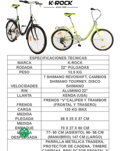 bicicleta plegable krock ligera retro vintage r22 shimano