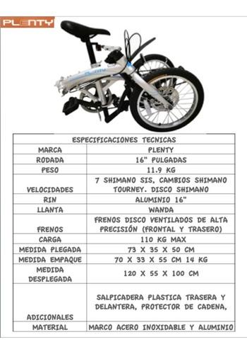 bicicleta plegable plenty ligera portatil r16  shimano msi