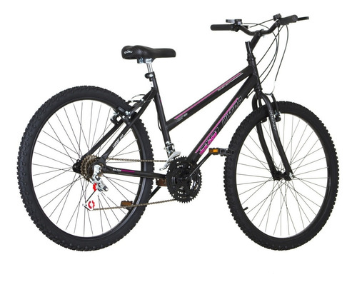 bicicleta preta fosca aro 26 18 marchas pro tork ultra