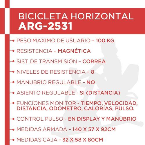 bicicleta recumbent magnética randers arg-2531 h/100kg rehab