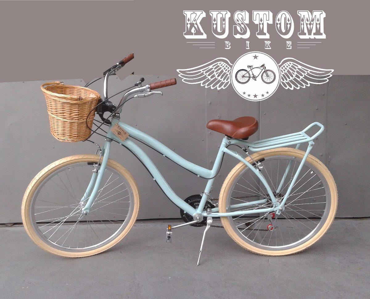 Bicicleta retr feminina cestinha vime bike vintage - Cestas para bicicletas ...