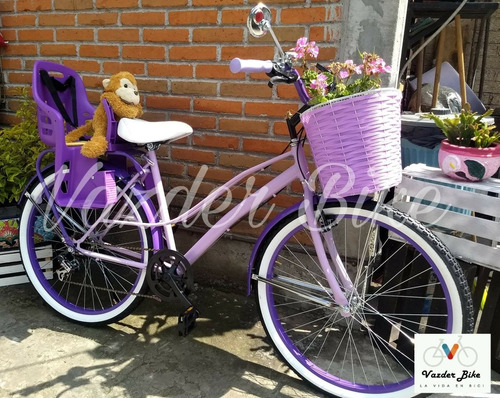 bicicleta retro vintage r26 lila con silla para bebe.