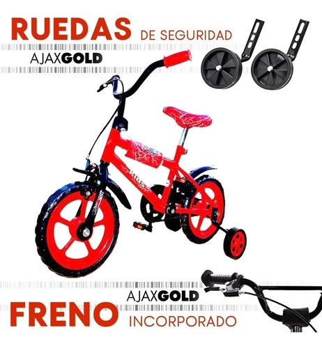 bicicleta rodado 12 nene nena rueditas reforzada infantil