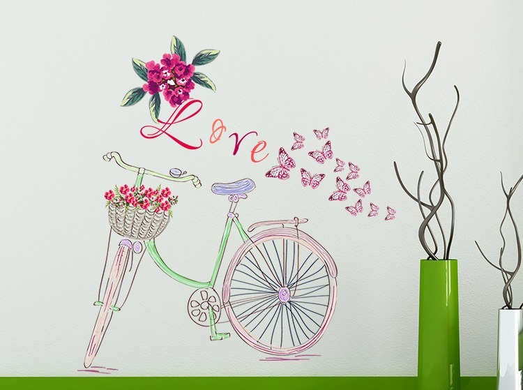 Bicicleta Rosa Dibujo Mariposas Y Flores Vinil Decorativo 39900