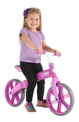 bicicleta rosada de balance sin pedales yvolution rosa bici