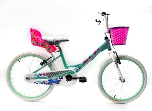 bicicleta slp dolphin bmx rodado 20 niña porta muñeca canast