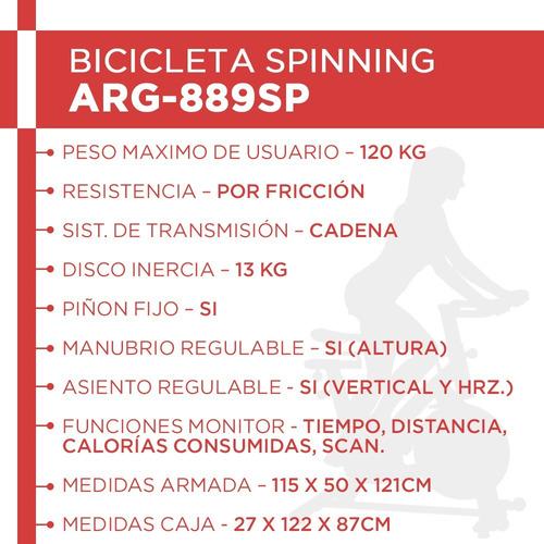 bicicleta spinning randers arg-889sp 120kg modelo semi prof