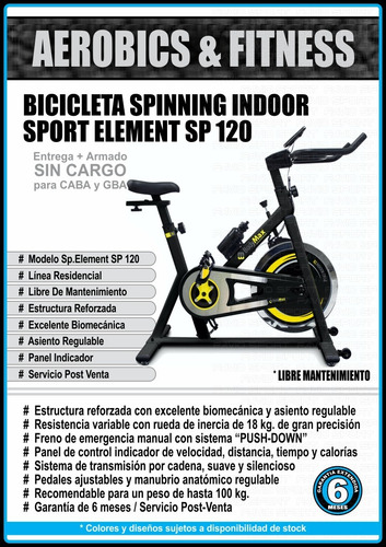 bicicleta spinning sport element 120 - envío + armado gratis