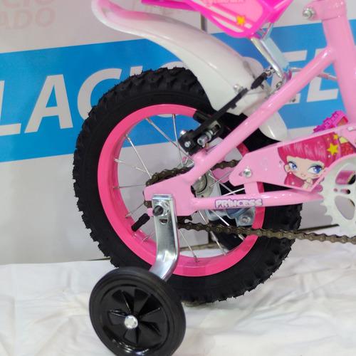 bicicleta top mega rodado 12 niña princesa acero portamuñeca