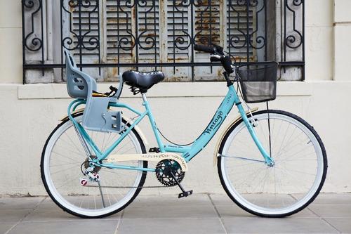 bicicleta vintage dama rod 26 con sillita envio gratis !