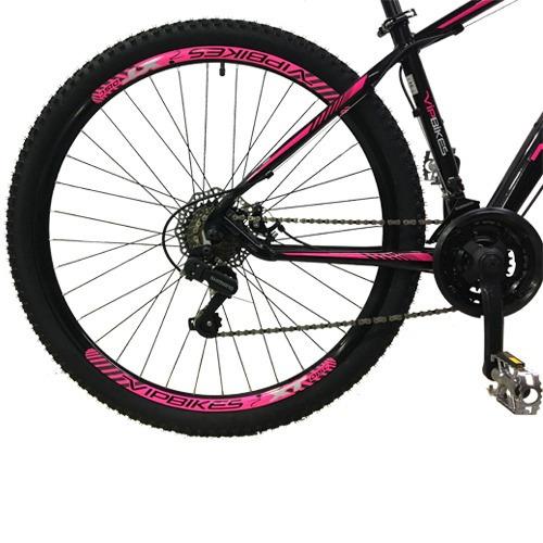 bicicleta vip bikes x10 21v 29er preta/rosa 2018