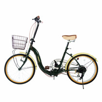 Bicicleta Plegable En Acero Partes Shimano Color Verde