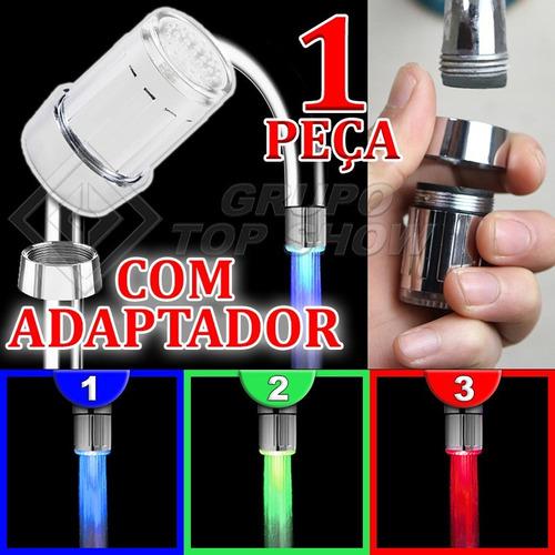 bico led torneira luz cores azul verde vermelha + adaptador