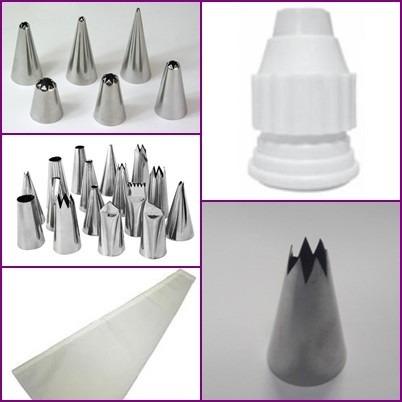 bicos para confeitar inox (kit 24 peças) + bico similar 1m