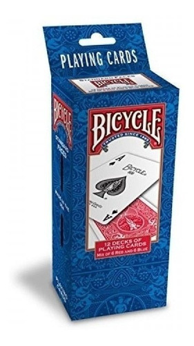 bicycle poker size standard index playing cards, 12 deck pl