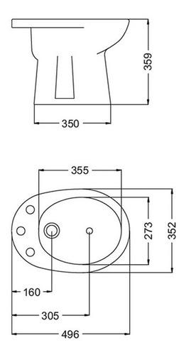 bidet modelo andina bea1/b de 1 agujero marca ferrum
