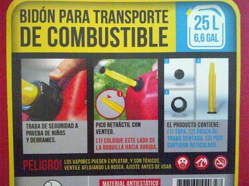 bidon nafta 25 litros combustibl gasoil pico vertedor venteo