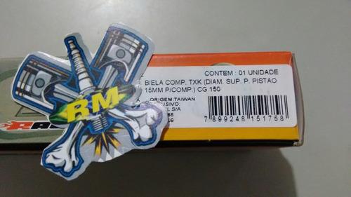 biela txk cg-titan 150 pino 15mm p/ pistao cbx-200-crf 230