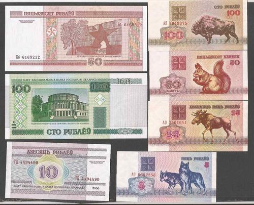 bielorusia 5, 10, 25, 50 y 100 rublos 7 billetes sin circula