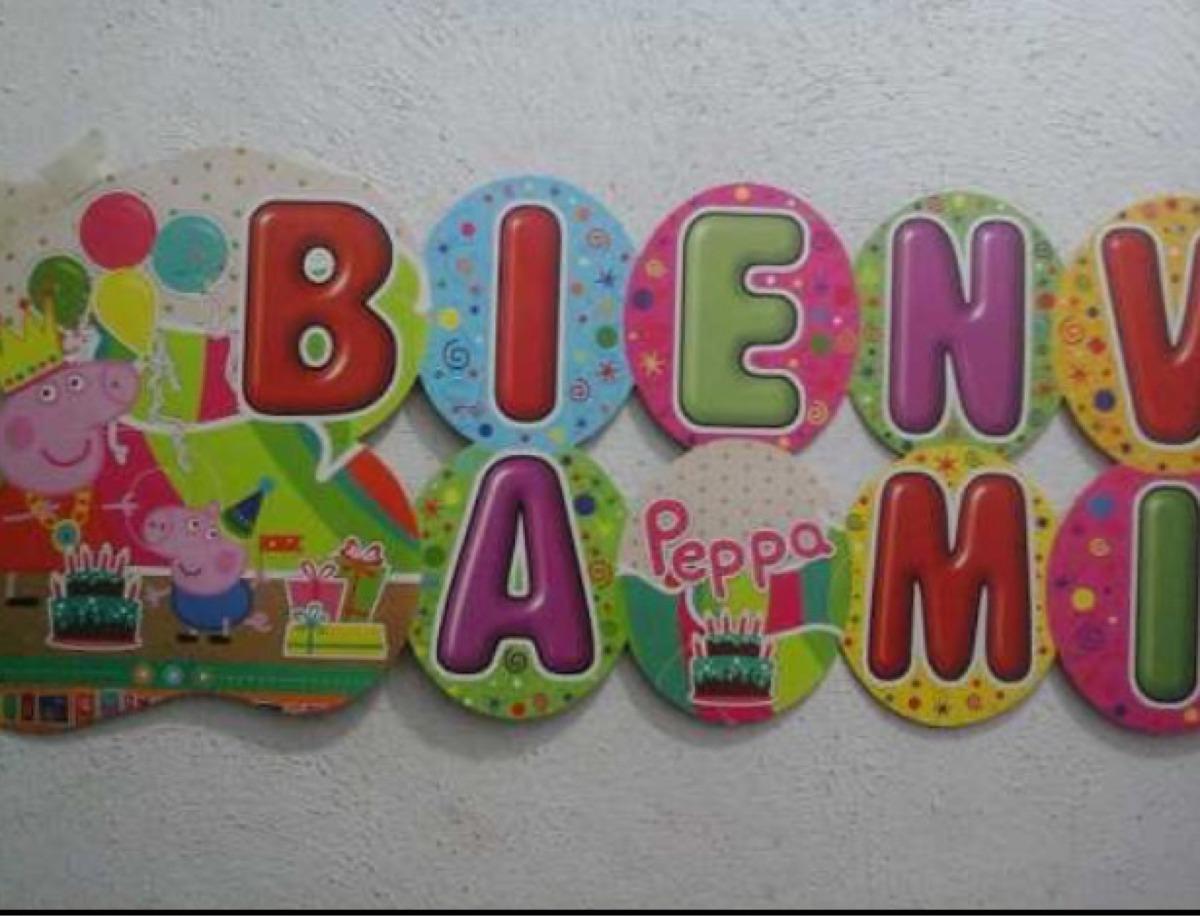 Bienvenido (cartel) Peppa Pig - Bs. 900,00 en Mercado Libre