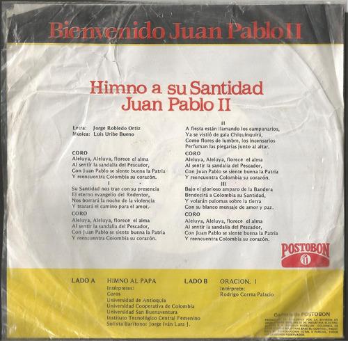 bienvenido juan pablo ii, vinilo 45 rpm colombia