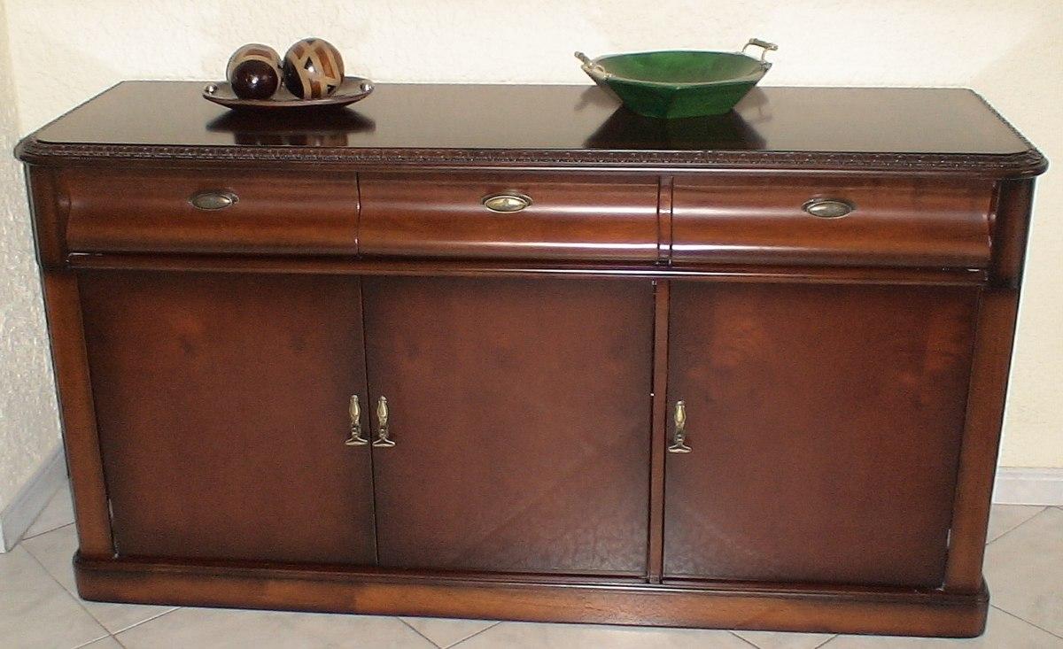 Bife aparador clasico madera comino mueble comedor hogar for Muebles para cds madera