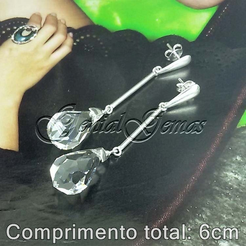 big brinco prata 950 cristal briolet 20x10mm +frete grátis